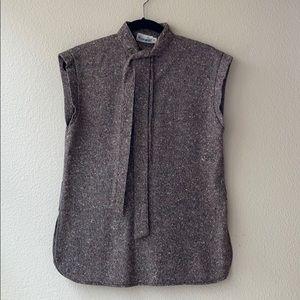 Vintage JOHN MEYER Speckled Wool Belted Sweater 10